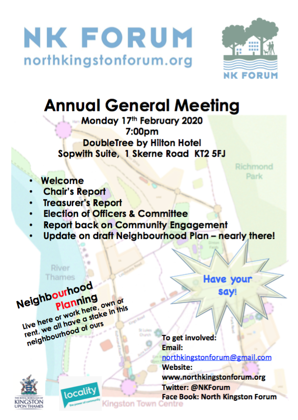 The North Kingston Forum AGM.  17th February.