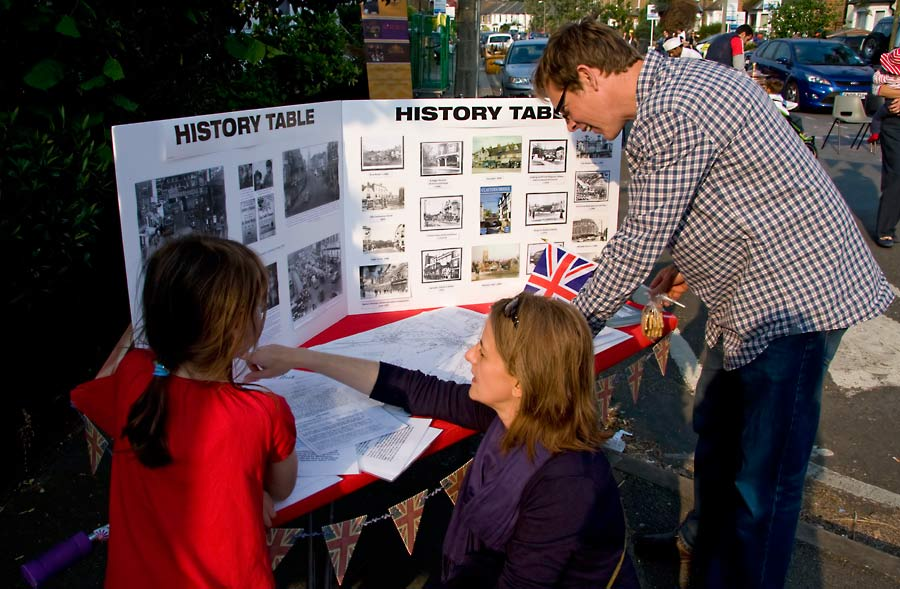 History table including pictures of previous street parties